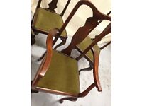Dining chairs, stylish and traditional high backs. Light renovation required