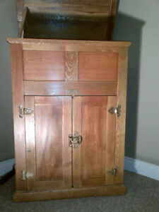 Vintage solid oak / pine icebox.
