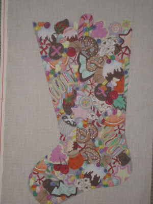 (X LARGE DEDE HANDPAINTED NEEDLEPOINT CANVAS STOCKING  CANDY LAND  HP NP)