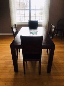 Solid Acacia wood table and Chairs