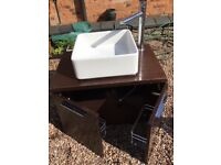 For sale:Wall hung dark wood bathroom vanity unit will square ceramic sink, tap and waste fitting.
