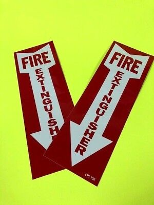 Fire Extinguisher Arrow Signs Self-adhesive Vinyl 4 X 12 Lot Of 2