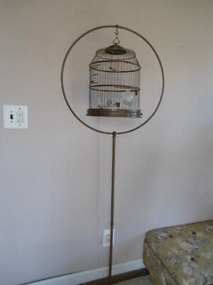 RARE ORIGINAL ANTIQUE BRASS HENDRYX BIRD CAGE WITH STAND  GLASS FEEDERS PERCHES