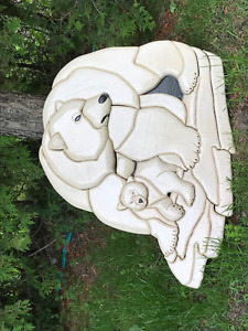 Maple Wood Bear Hanging Mounted-Pieces Sculpture