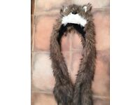 Wolf hat with joined scarf. Fleece lined. Really warm & cute. £3. Torquay or can post.