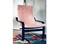 IKEA Poang Chair - black/brown with gråsbo pink cover