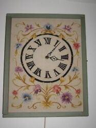 Completed Crewel Embroidery Wall Clock WORKS Green Wood Frame 17x14x3
