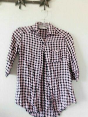 Abercrombie Kids Size 10 Girls 3/4 Plaid Button Down Shirt Top
