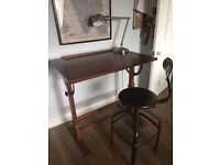 Industrial style drawing desk for sale with matching stool