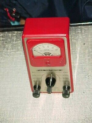Vintage Simpson Ac Voltmeter Model 286 Small Red Bakelite Case Nice