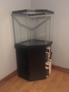 44 Gal Corner Aquarium with Stand & accessories