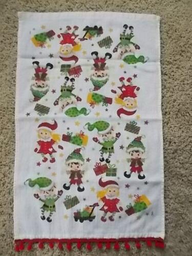 CUTE! Vintage MSI PIXIE ELF Christmas Hand Towel Cotton Terry Cloth POM FRINGE!