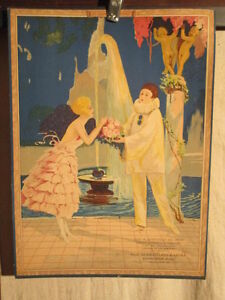 LITHOGRAPHIE-PIERROT-COLOMBINE-RARE-BELLE