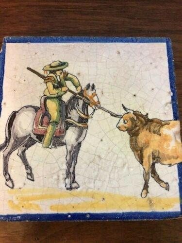 Vintage Hand Painted Tile Matador on Horseback Spearing a Bull antique authentic