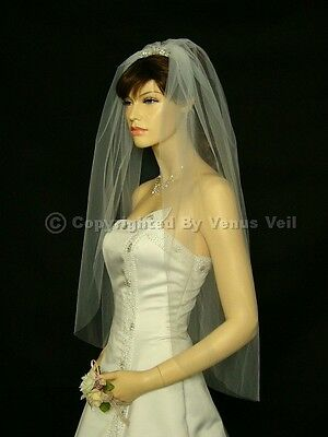 1T Ivory Wedding Bridal Fingertip Cut Edge Veil Cut Edge Wedding Veil