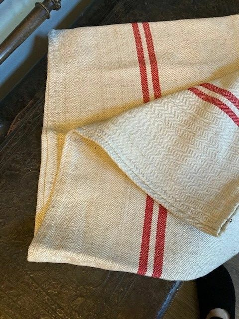Vintage Grain Sack with 2 red stripes