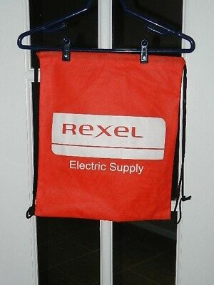 """REXEL ELECTRIC SUPPLY DRAW-STRING RED BACKPACK """"NEW"""" 16"""" X 13"""""""