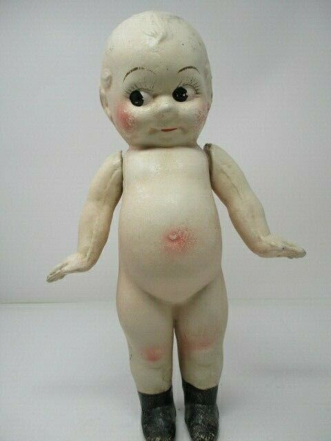 Antique Kewpie Bisque Doll Jointed Arms, Rosy Cheeks