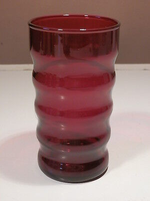 "ANCHOR HOCKING RUBY RED WHIRLY TWIRLY 4 3/4"" TUMBLERS FREE US SHIPPING on Rummage"
