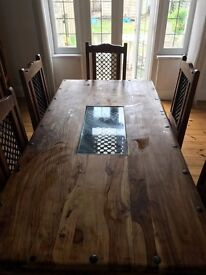 Excellent quality, solid wood dining table and chairs - good condition