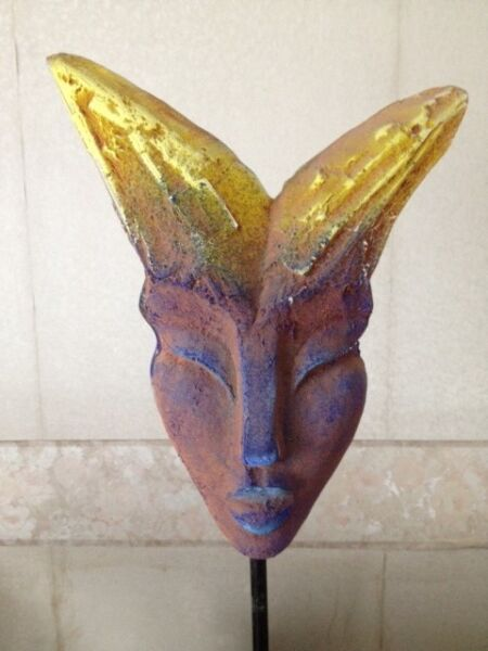 GirlFace w/Rabbit Ears Tall GLASS CRYSTAL Art Sculpture Statue