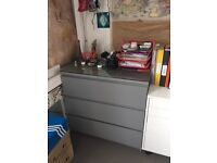 IKEA MALM grey 3 Drawers Chest and