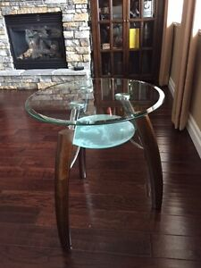 50% Price Drop!!!!  Two Glass & Wood End Tables