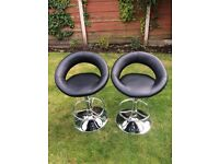 Piso Upholstered Black Gas Lift Bar Stools