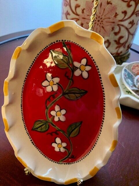 Soap Dish Heather Lane Hand Made Signed Floral - $9.95