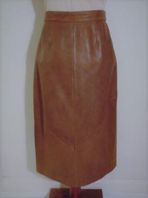 VINTAGE 70s 80s BERMANS CHOCOLATE BROWN BUTTERY SOFT LEATHER LINED LONG SKIRT 12