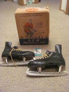 Vintage 1950's CCM Men's Skates With Box And Directions Size 11