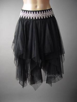 Black Tutu Womens (Women Black Tulle Dark Fairy Goth Handkerchief Tutu Full 220 mv Skirt S M L)