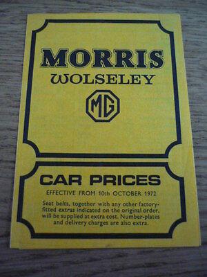 MORRIS, WOLSELEY & MG  RANGE INCLUDING MINI PRICE LIST CAR BROCHURE  jm