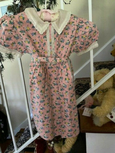 VTG 1950s Jacquene Small Pink  Cotton Flower Print  Dress