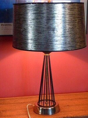 VINTAGE MID CENTURY 1950'S ATOMIC AGE WIRE TABLE LAMP BLACK, SILVER, GOLD 22