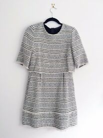 Hardly-worn Zara Black and White Boucle/Tweed Dress Size S/M
