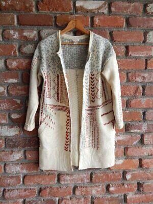 SUNDANCE CATALOG ~ Ivory Embroidered Cardigan Long Duster Sweater Coat ~ XS