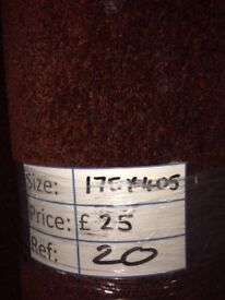 Dark red short pile Carpet Remnant (1.75 x 4.05 metres) for £25 - REF: 20