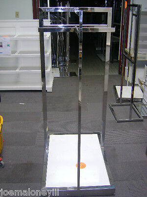 Retail White Chrome Garment Clothing Display Rack