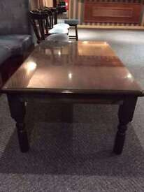 Large *WOODEN GLASS TOP COFFEE TABLE* Strong Sturdy