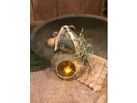 Primitive Candle Holder Grubby Candle Early Look Homestead Cupboard Tuck #3