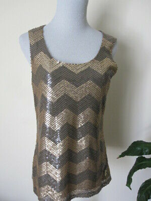 Coldwater Creek Sequin Bronze Brown  Chevron Shell Over Knit tank Cami XS S