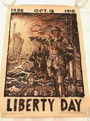 ORIGINAL U.S. WW1 POSTER - Liberty Day Oct 12 1492 WWI statue of world war RARE