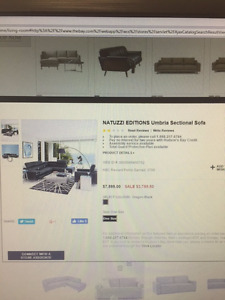 Natuzzi editions Umbra sectional Sofa from Hudsons Bay