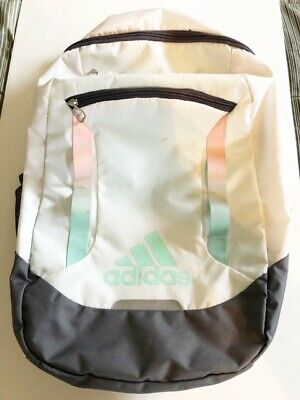 ADIDAS BACKPACK RN #90288 WHITE/GRAY WITH GREEN/PINK HIGHLIGHTS
