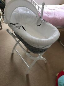 Moses basket and stand. Izzywhatnot brand.