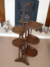 Lovely Solid Oak Edwardian/1920's Eccentric 5 Tier Folding Cake Stand/Dumb Waiter. One Family Owned.