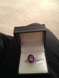 Sterling Silver & 14Kt Yellow Gold Diamond and Amethyst Ring
