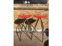 Catalan Italia Coco Bar Stools, chrome with red leather