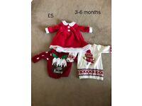 Baby girls 3-6 months christmas (xmas) santa dress clothes jumper bundle